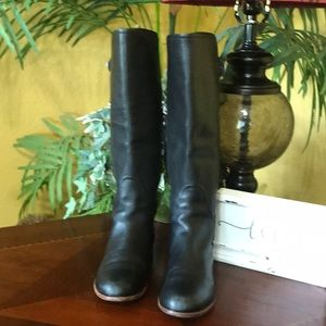 UGG Black Amberlee Leather Tall Boots